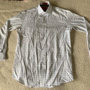 Saks Fifth Avenue Shirts - Saks Fifth Avenue White with Gray Dress Shirt EUC